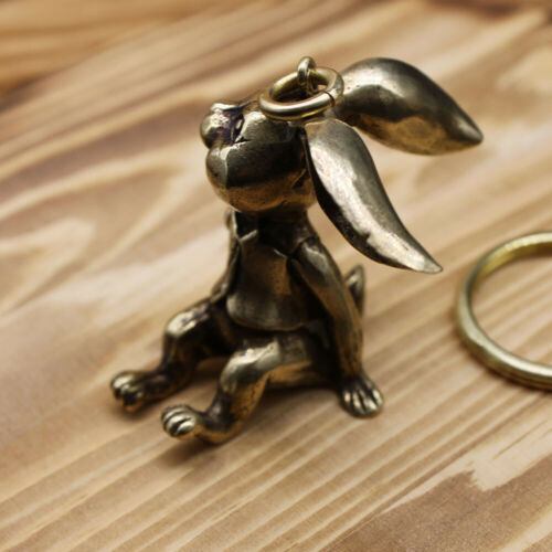 Collectable Brass Rabbit Keychains Key Pendant With Keyring