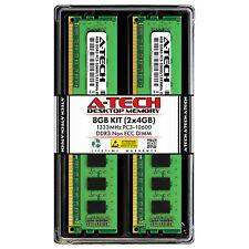 A-Tech 8GB 2 x 4GB PC3-10600 Desktop DDR3 1333 MHz 240-Pin DIMM Memory RAM 8G 4G