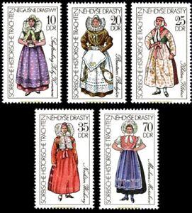 EBS-East-Germany-DDR-1977-Historic-Sorbian-Folk-Costumes-Michel-2210-2214-MNH