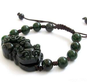 Hand Carved Black Green Jade Pixiu Tibet Buddhist Prayer Beads Mala Bracelet