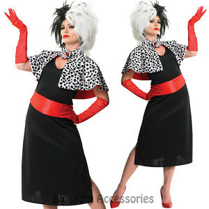 Image is loading CL254-Cruella-De-Ville-Vil-Disney-Costume-101-  sc 1 st  eBay & CL254 Cruella De Ville Vil Disney Costume 101 Dalmatians Halloween ...