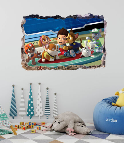 Paw Patrol Smashed 3D Wall Decal Sticker Mural Art Home Decor Vinyl DA45