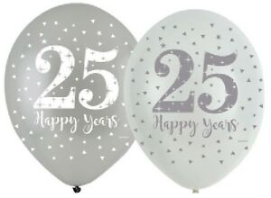 6-x-Silver-Anniversary-11-034-Latex-Balloons-Helium-25th-Wedding-Party-Decoration