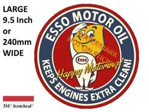 VINTAGE-ESSO-MOTOR-OIL-DECAL-STICKER-LABEL-9-5-INCH-DIA-240-MM-HOT-ROD