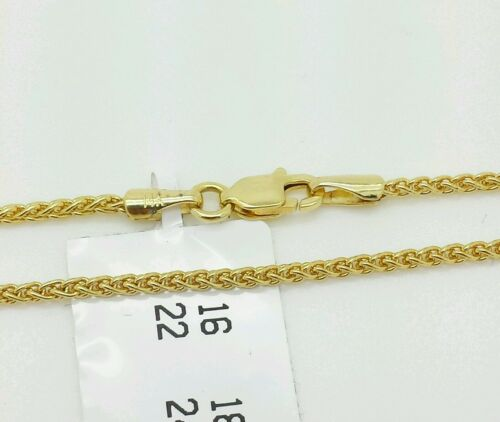 """14k Yellow Gold Round Wheat Necklace Pendant Chain 20/"""" 1.5mm"""