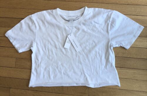 New Ladies Crop Top T Shirt S//M Small Med White Half Sleevey Top Shop With Tags