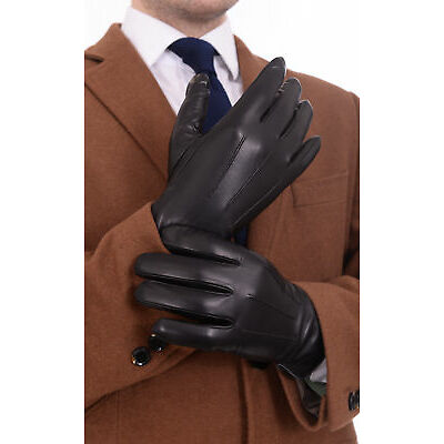 Ariston Mens Genuine Nappa Lambskin Leather Driving Gloves With Cashmere Lining