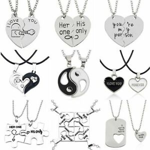 Relationship Necklaces Couple Necklace Set Pendant Matching Cute Heart Bf Gf Ebay