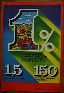 Soviet Russian Original POSTER Saving of fuel USSR economy 1980