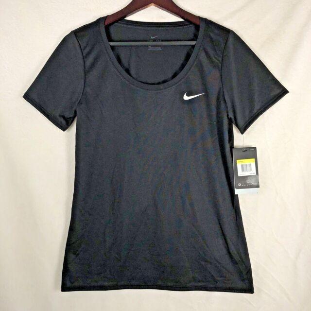40700dc82 NIKE Women's Black DRI FIT T-Shirt Anti Odor Scoop Neck #903112 Sz L