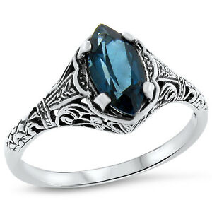 GENUINE-LONDON-BLUE-TOPAZ-ANTIQUE-STYLE-925-STERLING-SILVER-RING-708