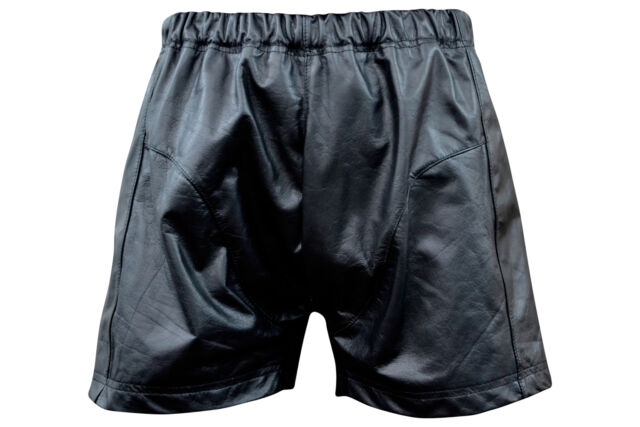 Men's Black Leather Boxer Style Shorts New All Sizes LLL-1900