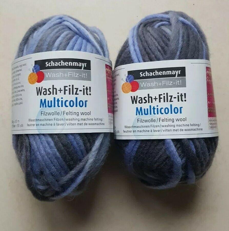 6,50€//100g Wash+Filz it Filzwolle multicolor 50 g Schachenmayr knallige Farben