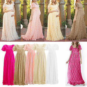 Women Lace Maternity Short Sleeve Long Maxi Dress Pregnant Gown Photography Prop