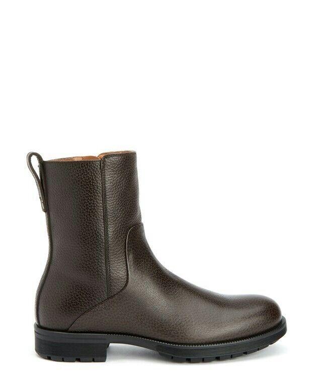 Aquatalia Logan Men's Dark Brown Embossed Calf leather Boots 12 M  595
