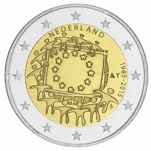 "Flag 30 Years/"" EU 2015 Netherlands 2 Euro Uncirculated Coin /""European Union"