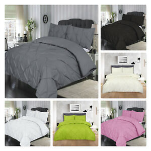 Pintuck Bedding Set Check Print Duvet Quilt Cover Double King Percale PillowCase