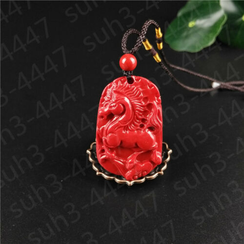 Rouge Chinoise Organic cinabre Cheval Collier Pendentif Charme Bijoux Lucky amulet