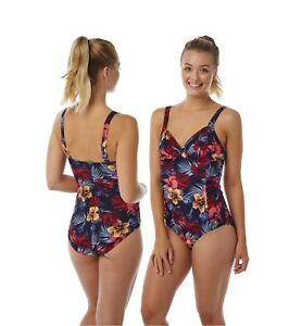 Ladies Navy Hibiscus Floral Swimming Costume Bathing Swimsuit One