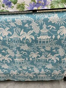 "Tempo Moon Pagoda Chinoiserie Toile Cotton Drapery FabrIc Agean 54"" By The Yard"