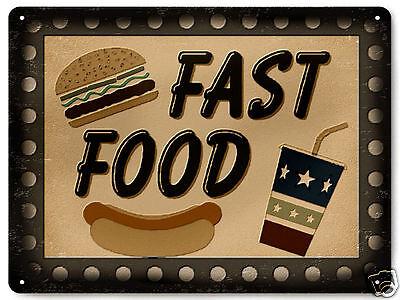 Hamburger fries display Metal sign vintage style for snack deli diner decor 292