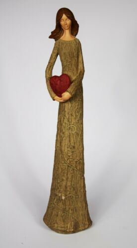 Tall Lady Holding Heart Love Figurine Statue Valentine/'s Valentines Day Gift