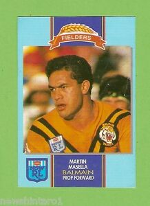 #D177.  1993 FIELDERS RUGBY LEAGUE CARD - MARTIN MASELLA, BALMAIN TIGERS