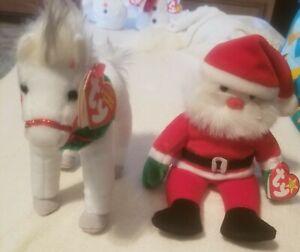 Ty Beanie Baby Santa And Beanie Baby Sleighride