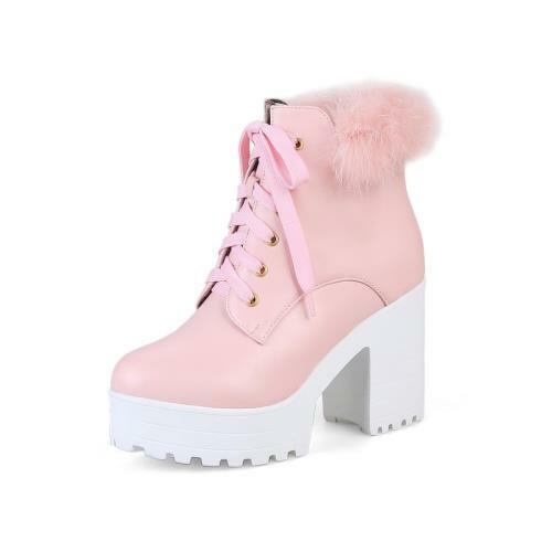 Details about  /Europe Women/'s Lace Ups Block High Heel Round Toe Punk Casual Ankle Boots Goth D