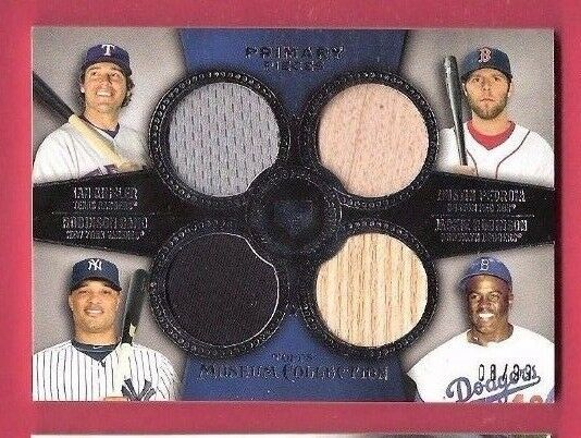 JACKIE ROBINSON DUSTIN PEDROIA ROBINSON CANO 4 GAME USED JERSEY BAT CARD DODGERS