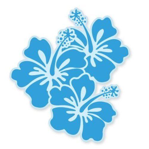 Hibiscus Fleurs Bleu Voiture Vinyle Autocollant-sélectionnez la taille