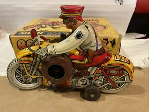 Vintage-Marx-1940s-Tin-Windup-Rookie-Cop-Motorcycle-with-box