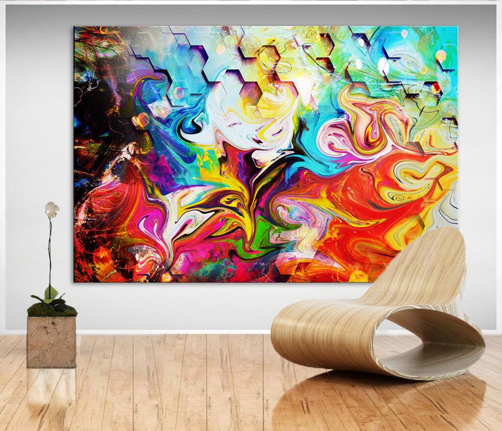Wandbilder Abstrakt Buntes Bild auf Leinwand Kunst Bilder Kunstdruck  XXL D1283