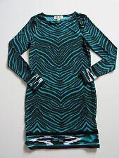 NWT MICHAEL by Michael Kors Tile Teal Blue Zebra Border Print Dress S $99.50