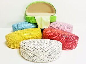 Sunglass-Eyeglass-Case-Clamshell-Rhinestones-Blue-Yellow-Green-Red-White-Pink