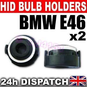 2x XENON HID H7 BULB HOLDERS BMW E46 3 Series BLACK ADAPTORS H21