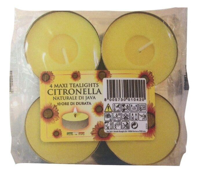 Citronnelle Maxi Tea Lights-Pack de 4 du Bougies Prix des Bougies du De Cire Bougies chauffe-plat Jardin c592f9