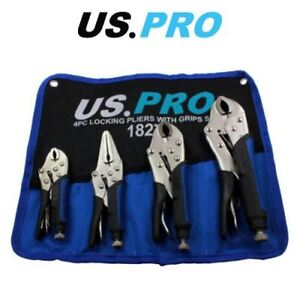 US-PRO-Locking-Pliers-4pc-Mole-Grips-Adjustable-Wrench-Vice-Grips-Pliers-1827