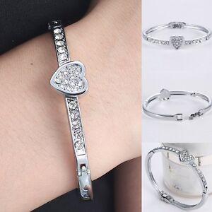 Hot-Fashion-Silver-Crystal-Love-Heart-Charm-Bracelet-Bangle-Wedding-Jewellery