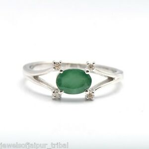 Oval shape emerald stone diamond 925 sterling silver ring valentine image is loading oval shape emerald stone diamond 925 sterling silver aloadofball Gallery
