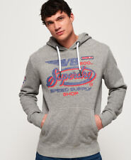 New Mens Superdry V8 Moto Hoodie Phoenix Grey Grit