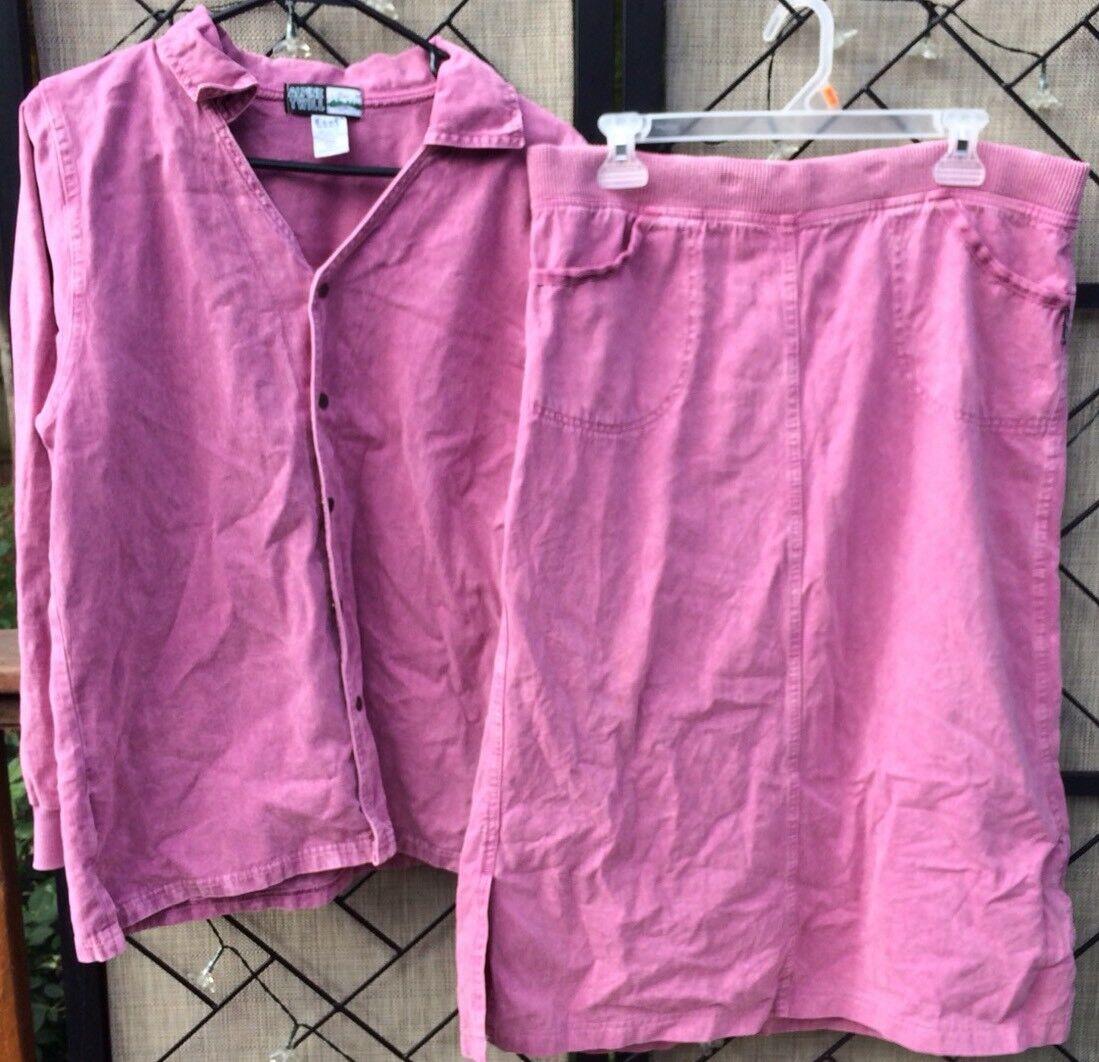 Ezze Vintage, chaqueta exterior para mujer Falda Sz M Snap Front Cotton