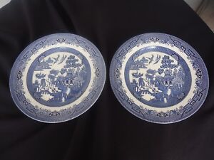Image is loading 2-churchill-england-willow-pattern-dinner-plates-multiple- & 2 churchill england willow pattern dinner plates multiple pairs ...