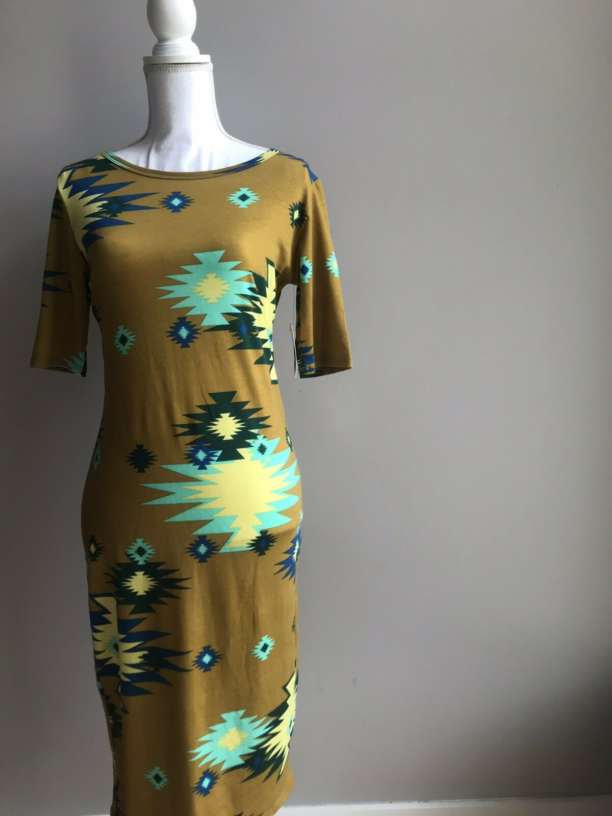 New Lularoe Small s Aztec Dress Julia Tribal gold Brown bluee