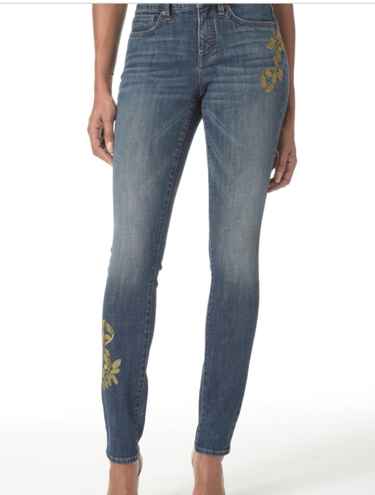 NWT NYDJ Alina Skinny Jeans In Petite With gold Embroidery 10P