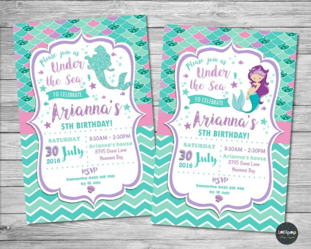 MERMAID PERSONALISED INVITATIONS INVITE GIRLS BIRTHDAY PARTY SUPPLIES UNDER SEA