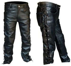 Hommes-epaisse-en-Cuir-Noir-Cote-Lacets-Jeans-Style-Pantalon-Neuf-Tailles-28-034-a-52-034-NEUF
