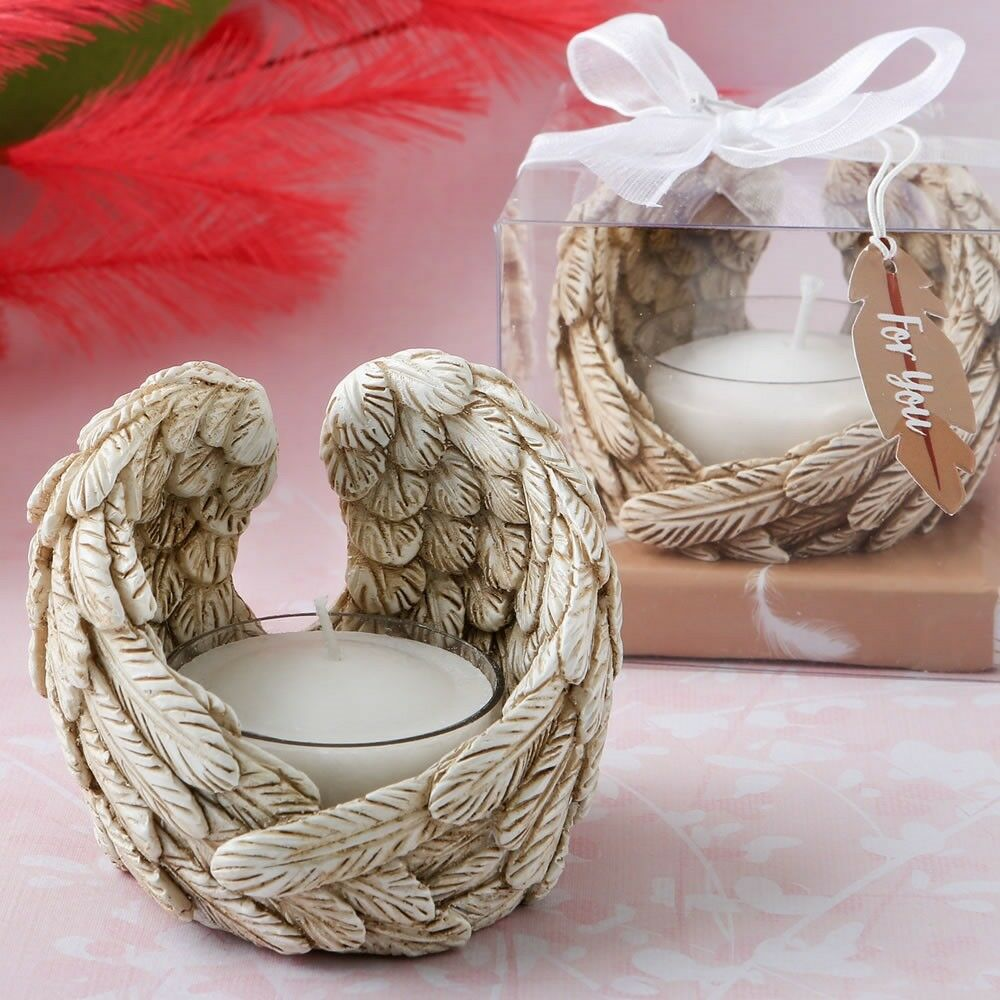 50 Guardian Angel Wings Candle Holder Christening Baptism Religious Party Favors