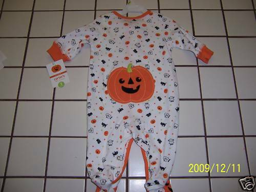 NWTS CUTE PUMPKIN CARTER/'S HALLOWEEN SLEEP N PLAY BABY INFANT BOY GIRL 3 MO