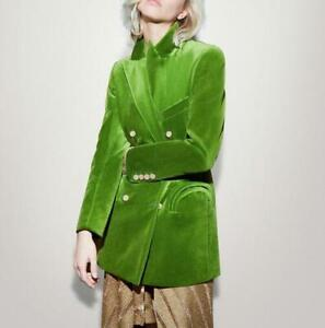 Occident-Ladies-Green-Blazers-Formal-Party-Velvet-Mid-Long-Coats-Jackets-Party